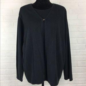 Sag Harbor one piece sweater and cardigan black 1x